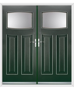Newark French Rockdoor in Emerald Green with Glazing