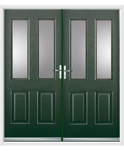 Jacobean French Rockdoor in Emerald Green with Glazing