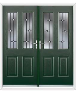 Jacobean French Rockdoor in Emerald Green with Crystal Bevel