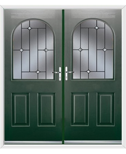 Kentucky French Rockdoor in Emerald Green with Crystal Bevel