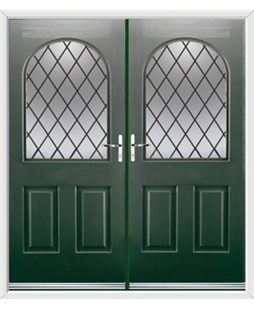 Kentucky French Rockdoor in Emerald Green with Diamond Lead