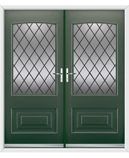 Portland French Rockdoor in Emerald Green with Diamond Lead