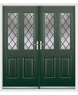 Jacobean French Rockdoor in Emerald Green with Diamond Lead
