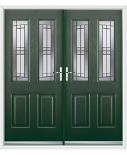 Jacobean French Rockdoor in Emerald Green with Empire