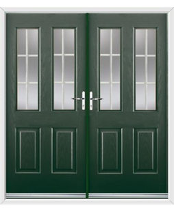 Jacobean French Rockdoor in Emerald Green with White Georgian Bar