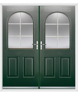 Kentucky French Rockdoor in Emerald Green with White Georgian Bar