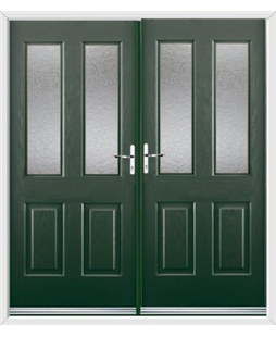 Jacobean French Rockdoor in Emerald Green with Gluechip Glazing