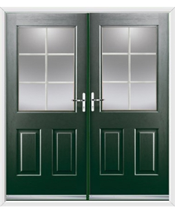 Windsor French Rockdoor in Emerald Green with White Georgian Bar