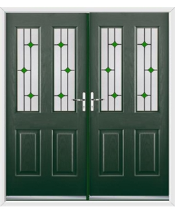 Jacobean French Rockdoor in Emerald Green with Green Diamonds