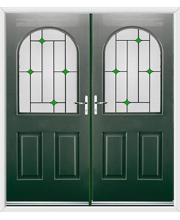 Kentucky French Rockdoor in Emerald Green with Green Diamonds
