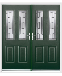 Jacobean French Rockdoor in Emerald Green with Inspire