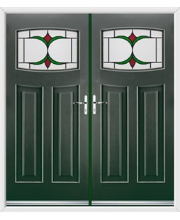 Newark French Rockdoor in Emerald Green with Jubilee Glazing