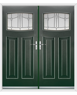 Newark French Rockdoor in Emerald Green with Lantern Glazing