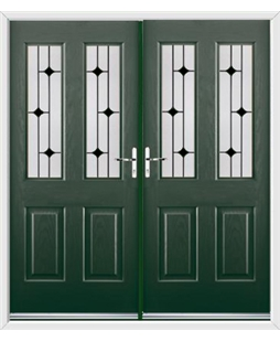 Jacobean French Rockdoor in Emerald Green with Linear