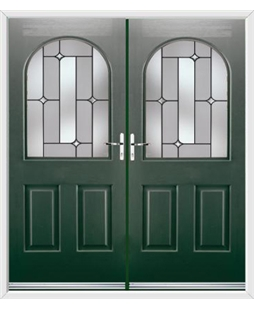 Kentucky French Rockdoor in Emerald Green with Linear