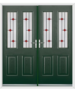 Jacobean French Rockdoor in Emerald Green with Red Diamonds