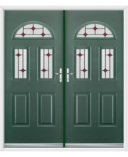 Tennessee French Rockdoor in Emerald Green with Red Diamonds