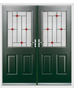 Windsor French Rockdoor in Emerald Green with Red Diamonds