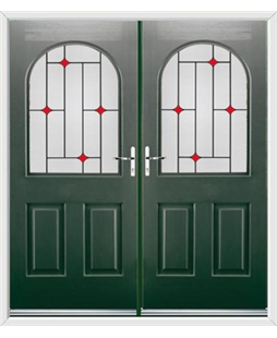 Kentucky French Rockdoor in Emerald Green with Red Diamonds