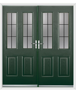 Jacobean French Rockdoor in Emerald Green with Square Lead