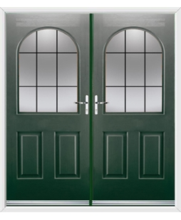 Kentucky French Rockdoor in Emerald Green with Square Lead