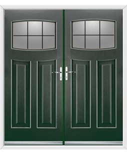 Newark French Rockdoor in Emerald Green with Square Lead