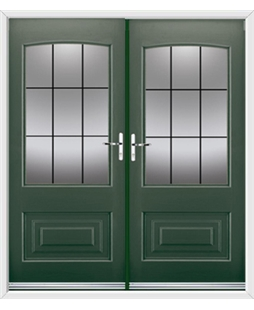 Portland French Rockdoor in Emerald Green with Square Lead