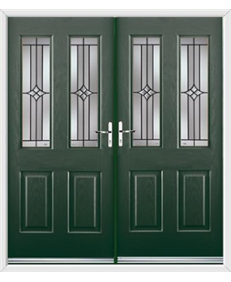 Jacobean French Rockdoor in Emerald Green with Summit