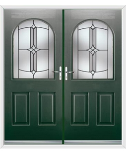 Kentucky French Rockdoor in Emerald Green with Summit
