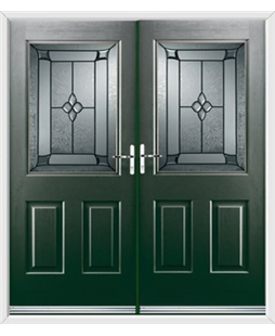 Windsor French Rockdoor in Emerald Green with Titania Glazing