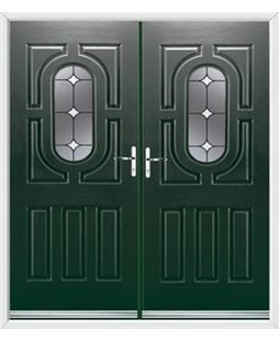 Arcacia French Rockdoor in Emerald Green with White Diamonds