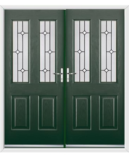 Jacobean French Rockdoor in Emerald Green with White Diamonds