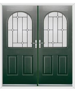 Kentucky French Rockdoor in Emerald Green with White Diamonds