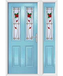 The Cardiff Composite Door in Blue (Duck Egg) with English Rose and matching Side Panel