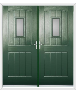 English Cottage French Rockdoor in Emerald Green with Glazing