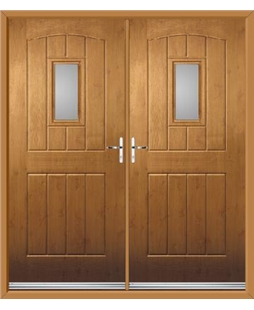 English Cottage French Rockdoor in Irish Oak with Glazing