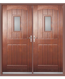 English Cottage French Rockdoor in Mahogany with Glazing