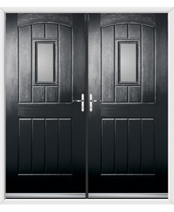 English Cottage French Rockdoor in Onyx Black with Glazing