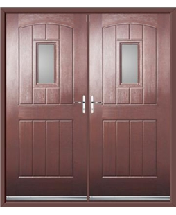 English Cottage French Rockdoor in Rosewood with Glazing