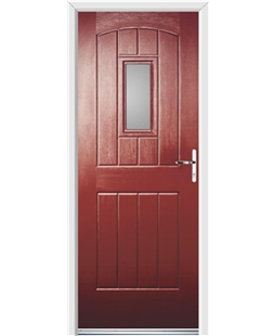 Ultimate English Cottage Rockdoor in Ruby Red with Glazing