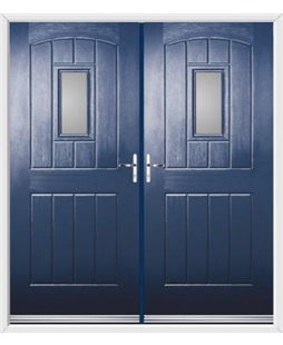 English Cottage French Rockdoor in Sapphire Blue with Glazing