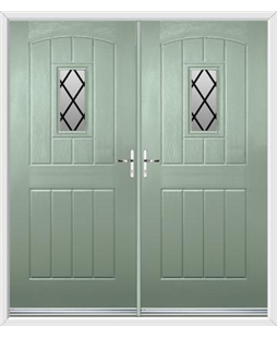English Cottage French Rockdoor in Chartwell Green with Diamond Lead