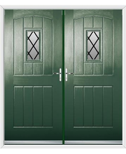 English Cottage French Rockdoor in Emerald Green with Diamond Lead