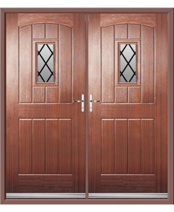 English Cottage French Rockdoor in Mahogany with Diamond Lead