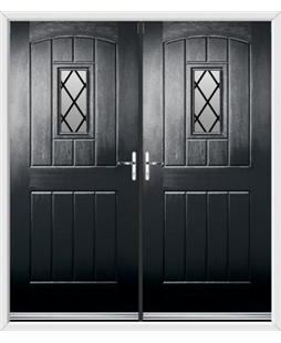 English Cottage French Rockdoor in Onyx Black with Diamond Lead