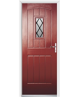 Ultimate English Cottage Rockdoor in Ruby Red with Diamond Lead