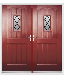English Cottage French Rockdoor in Ruby Red with Diamond Lead