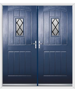 English Cottage French Rockdoor in Sapphire Blue with Diamond Lead