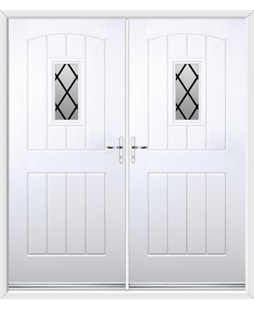 English Cottage French Rockdoor in White with Diamond Lead