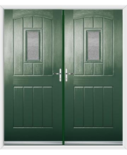 English Cottage French Rockdoor in Emerald Green with Gluechip Glazing